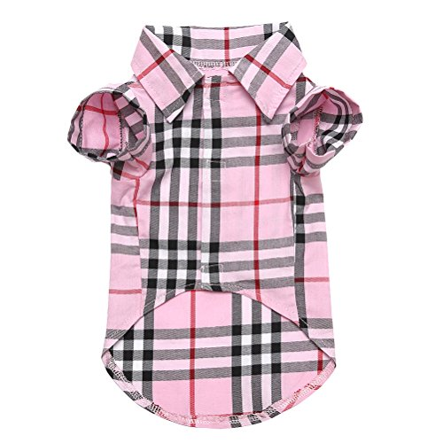 CHOLEGIFT Small Dog Puppy Shirt Clothing Cat Cotton Lapel Costume Polo Apparel - Fitwarm Western Plaid Dog Clothes Pink for Pet