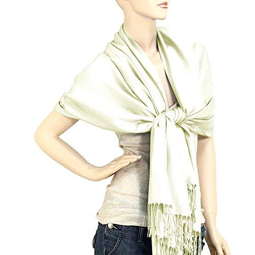 "Falari Women's Solid Color Pashmina Shawl Wrap Scarf 80"" X 27"" Off-white"