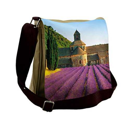 Abbey Messenger - Lunarable Lavender Messenger Bag, Abbey of Senanque Country, Unisex Cross-body