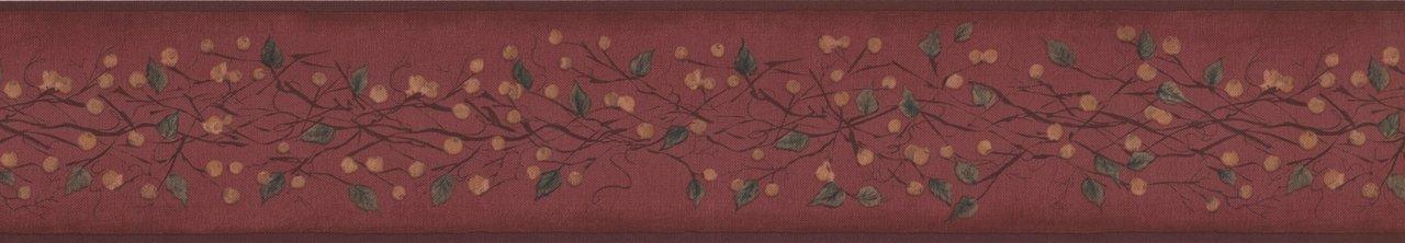 Gold Berries on Vine Garnet Red HF8576B Wallpaper Border