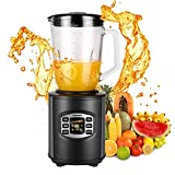 Utheing Smoothie Blender, 800W 5 Modes 50oz Stainless Steel, Fruit Mixer with Smart Timer Setting for Shakes and Smoothies Silver
