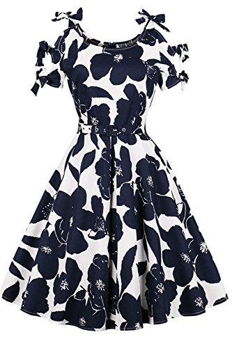 Blue Length Casual Women's Prom Flower 2 Knee Dress 1950s Swing Midi Sleeveless kyrakiss Party Rockabilly Tea Cocktail Floral Retro Vintage gTdZq