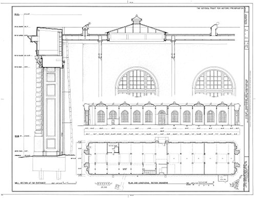 Historic Pictoric Blueprint Diagram HABS NY,60-POHI,1C- (Sheet 2 of 4) - Kykuit, Orangerie & Greenhouse, 200 Lake Road, Pocantico Hills, Westchester County, NY 14in x 11in
