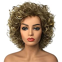 Wiginway Women Short Curly Heat Resistant Synthetic Hair Wigs Big Curly Dark Blonde Fashion Wigs 8 Inch