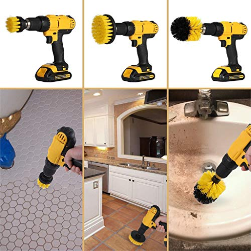 Wffo 4Pack Cleaning Extended Long Attachment Set All Purpose Revolver Rim Drill Scrub Brushes Kit,for Grout, Floor, Tub,(Yellow)