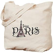 CafePress - J'aime Paris - Natural Canvas Tote Bag, Cloth Shopping Bag