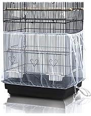 ASOCEA Uniwersalna klatka dla ptaków pokrowiec łapacz nasion nylonowa siatka papuga klatka spódnica - biała (nie zawiera klatka na ptaki)