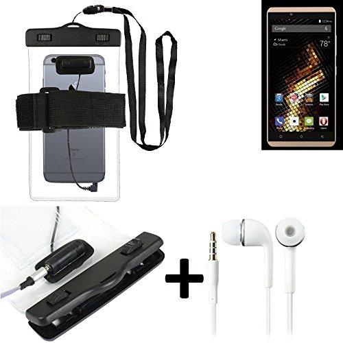 Estuche estanco al agua con entrada de auriculares para Blu Vivo 5 + auricular incluido, transparente | Trotar bolsa de playa al aire libre caja brazalete del teléfono caso de cáscara bajo playa - K-S