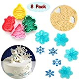 (Set of 8)The Easiest Christmas series Cookie Ever Cutter Set,Christmas tree, candy, snowman, snowflake,CupCake Decorating Gumpaste Fondant Mould
