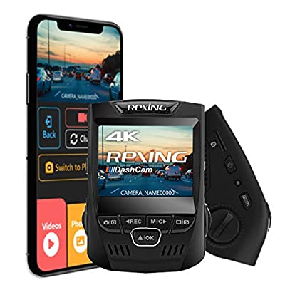 """Rexing V1 3rd Generation 4K UHD WiFi Car Dash Cam 2.4"""" LCD 170° Wide Angle Dashboard Camera Recorder with WiFi, 16GB Card, G-Sensor, WDR, Loop Recording"""