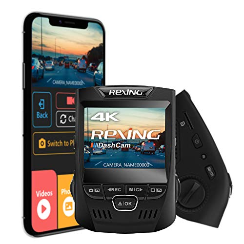 "Rexing V1 3rd Generation 4K UHD WiFi Car Dash Cam 2.4"" LCD 170° Wide Angle Dashboard Camera Recorder with WiFi, 16GB Card, G-Sensor, WDR, Loop Recording"