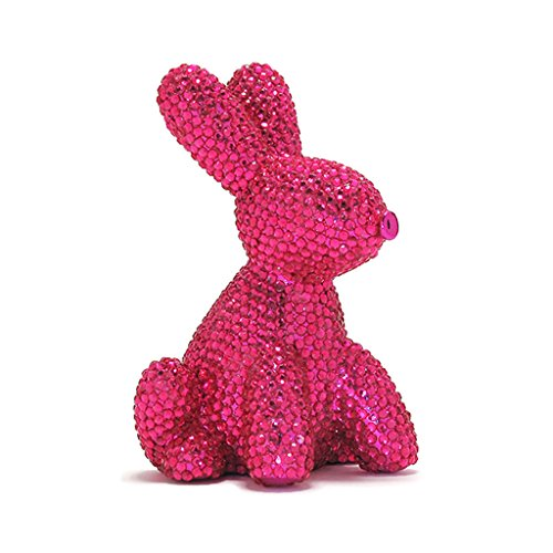 Crystal Bank (Made By Humans Glam Bunny Balloon Money Bank - Unique Animal-Shaped Ceramic Piggy Bank With Crystals for Women - Pink)