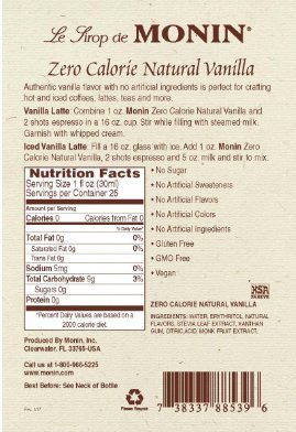 Monin Vanilla Zero Calorie Natural Flavoring, 750 ml bottle