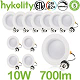 Hykolity 4 inch LED Recessed Downlight, 10W 700LM Dimmable Retrofit Recessed Can Downlight, 3000K Warm White, Damp Location, 50W BR20/ 65W BR30 Replacement- 12 Pack
