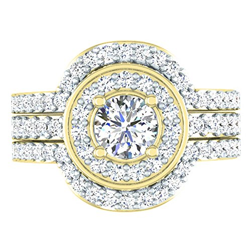 Dazzlingrock Collection 1.80 Carat (ctw) 14K Round White Diamond Bridal Halo Style Engagement Ring Set, Yellow Gold, Size 6