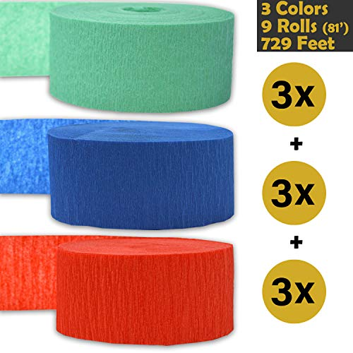 - Crepe Party Streamers, 9 rolls, 3 Colors, 739 ft - Seafoam Green + Sapphire Blue + Bright red - 243' per color (3 rolls per color, 81 foot each roll) - For party Decorations and Crafts - Flame Resistant, Bleed Resistant, Made in USA