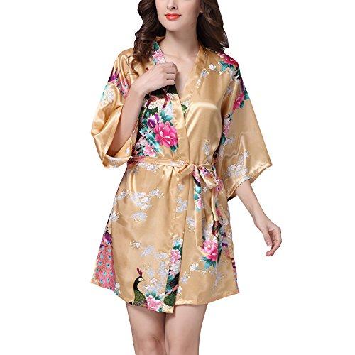 Dolamen Mujer Albornoz Vestido Kimono Satén, Camisón para mujer, Pavo & Flores Robe Albornoz Dama de honor Ropa de dormir Pijama, Estilo corto Oro