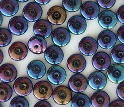 - Blue Opaque Metallic Iris Rainbow Czech Glass Rondelle Wafer Disc Beads 4mm (100)