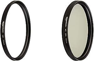 AmazonBasics UV Protection Lens Filter and Circular Polarizer Lens Set - 77 mm