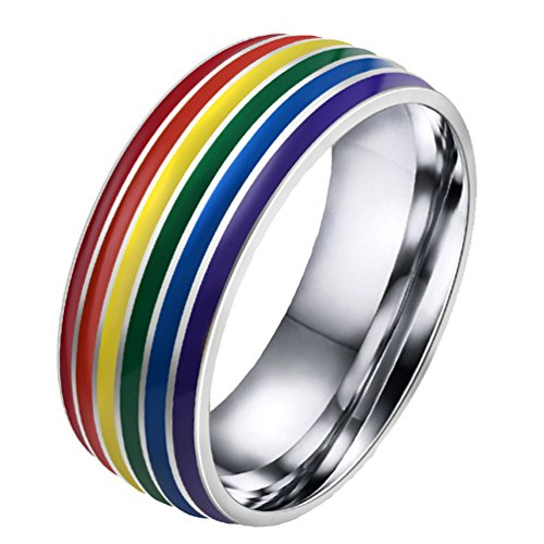 Stainless Steel Rainbow Ring for Men and Women - 4