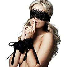 Imixshopcs Lace Eye Mask Bound Hands Blinder Blindfold Women Nightwear Costume Sex Toy (Black)
