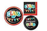 2018 Graduation Party Supply Pack for 8 Guests - Bundle Includes Paper Plates and Napkins in a Head of The Class Design