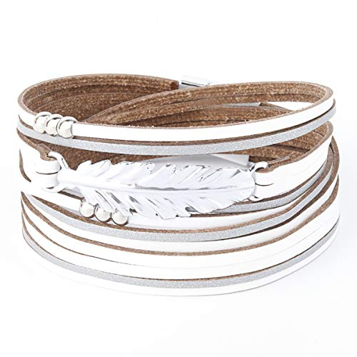 Womens Leather Cuff Bracelet - Braided Wrap Bangle Handmade Multi Layer Jewelry - with Alloy Magnetic Clasp - Bohemian Gift for Women, Mother,Girls ((Feather)-White)
