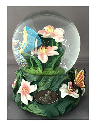 Colorful Butterfly Garden with Lillies- Sculptured Resin Water Ball Music Box 5 3/4