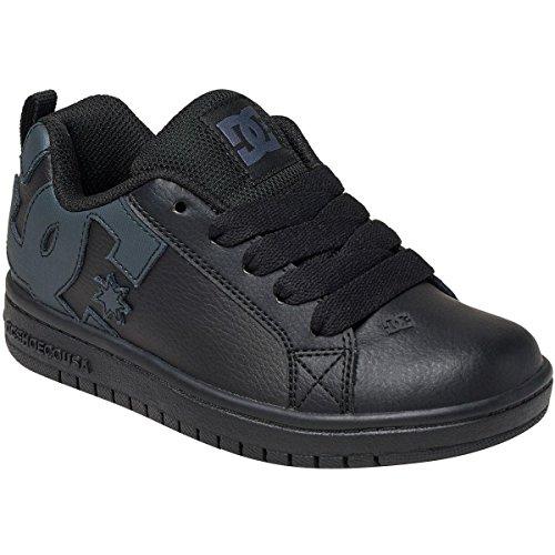 Unisex 5 Eye Padded Collar (DC Kids' Youth Court Graffik Skate Shoe, Black/Black/Black, 11.5 M US Little Kid)