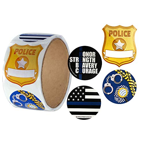 Police Officer Sticker Roll of 100 Assorted Stickers]()