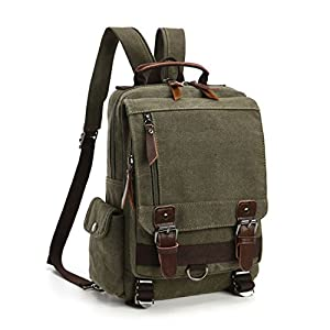 Leparvi Canvas Fashion Backpack Purse Rucksack One Strap Sling Cross body Messenger Bag Travel Rucksack (Green)