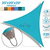 Patio Paradise 20'x 20' x 20' Strengthen Large Sun Shade Sail Reinforced by Steel Wire- Turquoise Green Triangle Heavy Duty Permeable UV Block Fabric Durable Patio Outdoor Garden Backyard