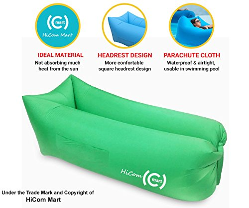 HiCom Mart – Portable Inflatable Lounger, Air Chair, Blow up Couch, Inflatable lounge chair, Inflatable sofa bed couch for Hiking and Camping, Made of Parachute Material (Green) (Lounge Banana Chair)