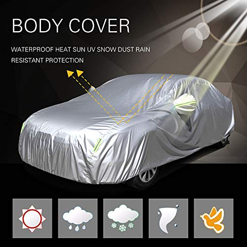 (SCITOO Universal Car Cover, Waterproof 190T Silver Grey Polyester Auto Car Cover Breathable Frost Resistant Cover with Mirror Pockets Reflective fit Most Cars Up to 210