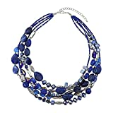 BOCAR Multi Layer 5 Strand Statement Collar Beaded Necklace for Women Gift (NK-10376-blue)