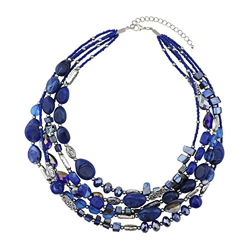 BOCAR Multi Layer 5 Strand Statement Collar Beaded Necklace for Women Gift (NK-10376-blue) (Blue Multi Strand Necklace)