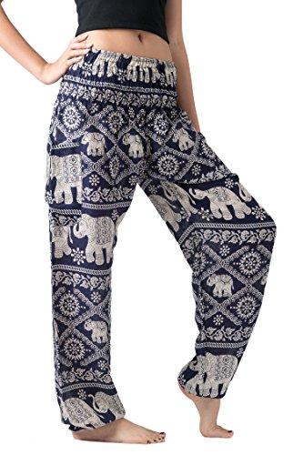 Bangkokpants Women's Casual Pants Harem Bohemian Clothes Hippie Boho Yoga Outfits Smocked Waist (Navy, One Size) ()