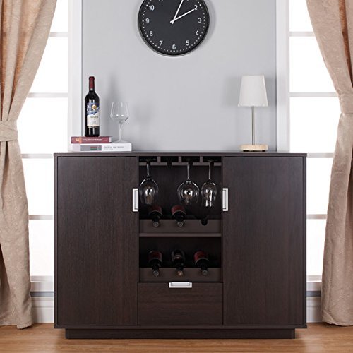 Wine Bar Furniture Vitalia Collection Features Built-In Wine and Glass Racks, Natural Wood Finish with Metallic Accents