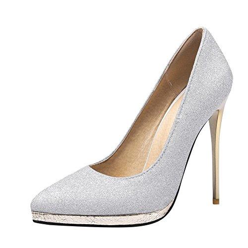 MissSaSa Damen high heel Pointed Toe Plateau glitzer PaillettenPumps mit Stiletto Silber