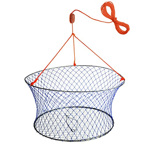 "Palmyth Wire Grid Bottom Crab Nets Two Ring Crab Kit with Harness and Bait Clip 24"" X 20"" X ()"