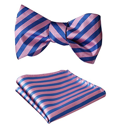 e Jacquard Woven Self Bow Tie Set One Size Pink/Blue (Jacquard Bow)