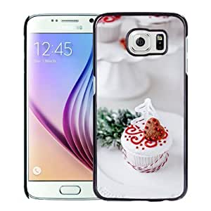 NEW Unique Custom Designed Samsung Galaxy S6 Phone Case With Heart Shape Chocoloate Cookie Cake_Black Phone Case