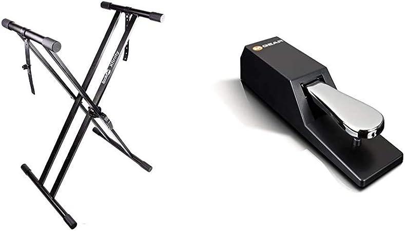 RockJam Xfinity Doublebraced Premontado Soporte de Teclado Altamente Ajustable + M-Audio SP-2Pedal de sostenido Universal con Tacto de Piano para ...