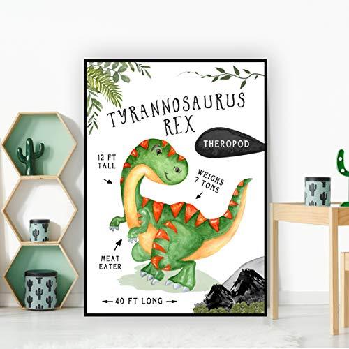 Tyrannosaurus Rex T-Rex Dinosaur Facts Children's Nursery Kids Wall Art -