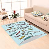 Nalahome Custom carpet Airplane Decor Planes Fying in Air Aviation Love Airport Helicopters and Jets Cartoon Multicolor area rugs for Living Dining Room Bedroom Hallway Office Carpet (6' X 9')