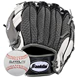 Franklin Sports Teeball Recreational Series Fielding Right Hand Glove with Baseball, 9.5-Inch, Black/Graphite/White