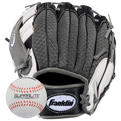 Mitt Kids Gloves - Franklin Sports Teeball Recreational Series Fielding Right Hand Glove with Baseball, 9.5-Inch, Black/Graphite/White