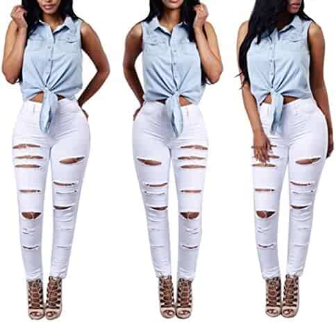 b0159d38522 Hattfart Women s High Waisted Skinny Destroyed Ripped Hole Denim Pants Long  Stretch Pencil Jeans