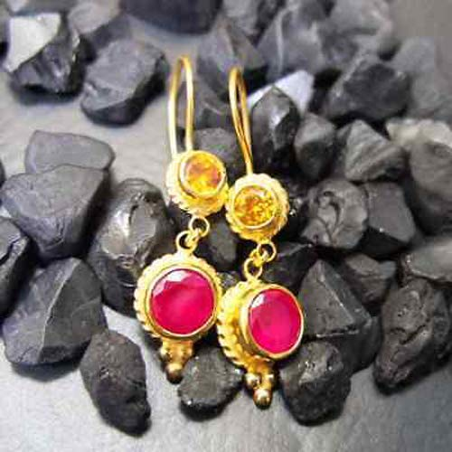 Ancient Design Jewelry Handmade Designer Ruby And Citrine Earring 22K Gold Over 925K Sterling Silver ()