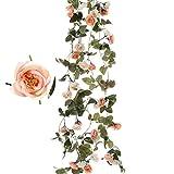 Felice Arts 2pcs Artificial Flower 7.2Ft Fake Rose Vine Green Leaf Hanging Vine Garland for Wedding Party Home Garden Wall Decoration-champagne